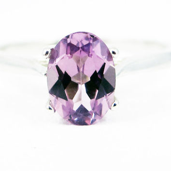 Alexandrite Oval Solitaire Ring Sterling Silver