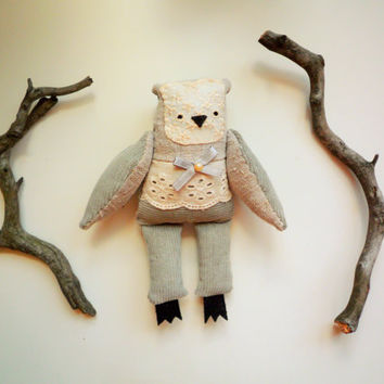 Mia -   Little  Owl  soft art toy  by Wassupbrothers