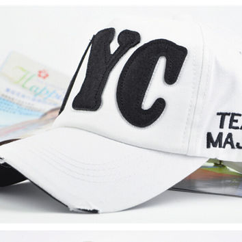 White NYC Retro Baseball Cap Hat Summer Gift 25