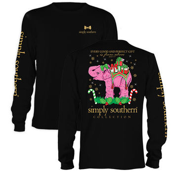 Simply Southern Holiday Christmas Gifts Elephant Long Sleeve T-Shirt