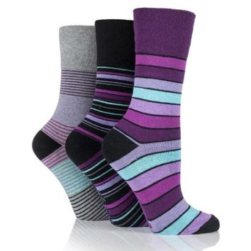 Non Binding Socks for Women in Mixed Stripes