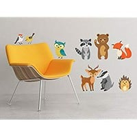 Forest Animals Fabric Wall Decals, Set of 9 Animals including Birds, Owl, Bear and More - Removable,...