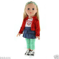 Be My Girl 18 inch Doll Sporty Love Blonde Jacket Denim Skirt Leggings Sneakers