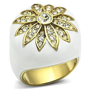 Ion Plated Brass & Enamel & CZ White Flower Ring