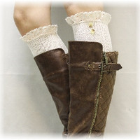 SWISS LACE boot sock buttons - ivory
