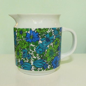 vintage pitcher (groovy green and blue floral ceramic)
