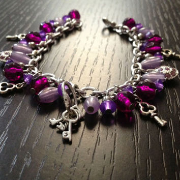 Key Bracelet purple pink heart bracelet