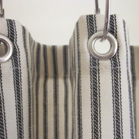 Ticking Stripe Shower Curtain Black, Brown, Grey, Navy, Red  72x72 and custom size