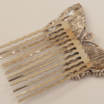 Enameled Butterfly hair comb in silver light brown, girls hair comb, metal hair accessories, rhinestone hair comb, summer, bridal hair comb