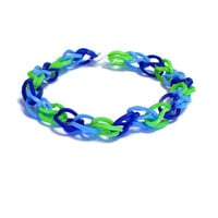 Cool Blue and Green Friendship Bracelet, Rainbow Loom Bands - Rubber Band Bracelet, Thin