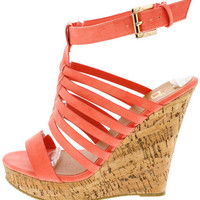 VIOLET1 CORAL CAGED CORK PLATFORM WEDGE