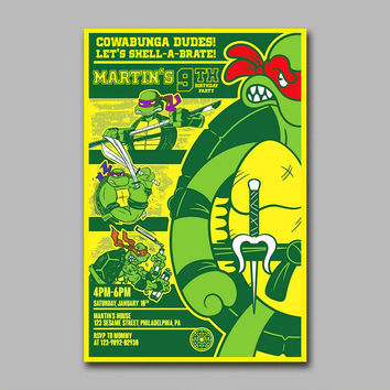 ADF 203 Teenage Mutant Ninja Turtle Retro Design Kids Birthday Invitation Party Design