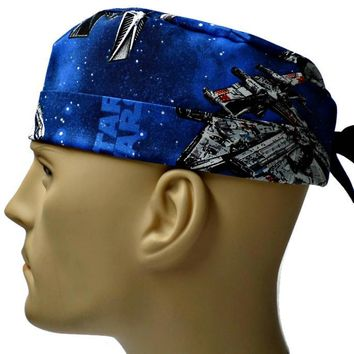Men's Adjustable Cuffed or Un-Cuffed Surgical Scrub Hat Cap in Star Wars Ships
