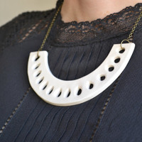 White ceramic statement necklace, contemporary ceramic jewellery for women