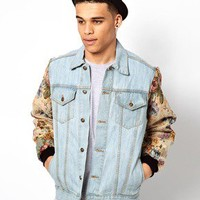 Reclaimed Vintage Denim Jacket with Floral Tapesty Sleeves at asos.com