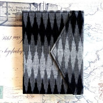 Black and Gray Fabric Handmade Leather Journal