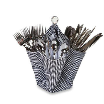 Utensil & Condiment Caddy - Hounds Tooth Print