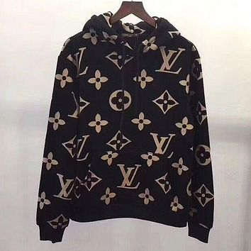 LV Fashion Print Long Sleeve hooded Pullover Sweatshirt Top Sweater hoodie For  Women/Men