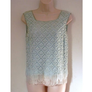 Mad Men Lace Beads and Sequins Evening Top Baby Blue with Fringe  Regalia