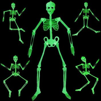 LMFET7 90cm 150cm Halloween Decoration Luminous Movable Skull Skeleton Halloween Props Party Bars Glow In The Dark Hanging Decorate