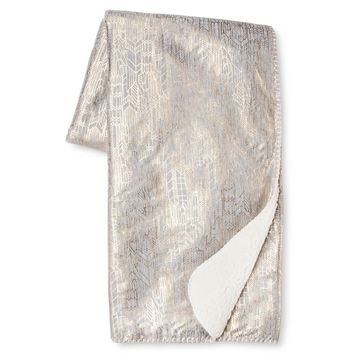 "Grey & Gold Metallic Jersey Throw (50""x60"") - Xhilaration™ : Target"
