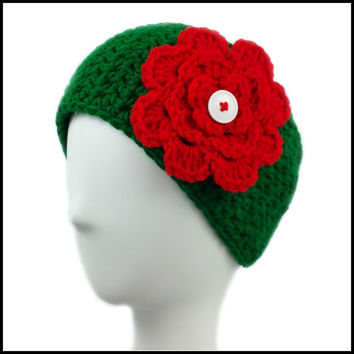 Green Earwarmer with Red Flower