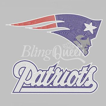 25PCS/LOT Iron On Rhinestone Heat Transfers Hot Fix Motifs New England Patriots Design