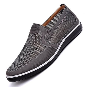 2019 Men'S Casual Shoes,Men Summer Style Mesh Flats For Men Loafer Creepers Casual High-End Shoes Very Comfortable Size:38-44