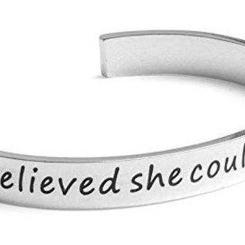 Inspirational Silver Cuff Bracelet ndash Stamped ldquoShe Believed She Could So She Didrdquo Jewelry for Women Teens Girls ndash Motivational Quotes Mantra Band Bracelets ndash Perfect Gift