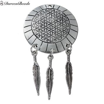 DOREENBEADS ALLOY FLOWER OF LIFE PENDANTS ANTIQUE SILVER COLOR