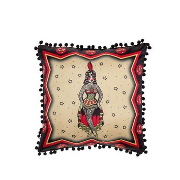 "Step right up to see Sourpuss Clothing new line of sideshow pillows! This one-sided pillow in particular features a traditional tattoo style Tattooed Lady framed by classic carnival ""Alive"" banners all printed on satin. The backside of the pillow is solid"