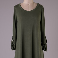 Keepin' It Casual Sweater Dress - Olive