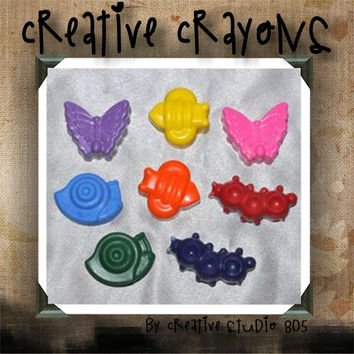 GARDEN CRITTERS | shaped crayons | party favors | birthday | baby shower