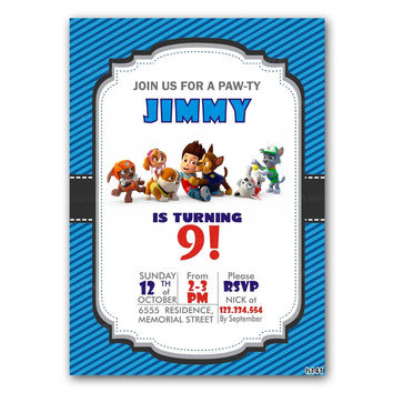Paw Patrol All Dogs Blue Stripes Kid Birthday Invitation Party Design
