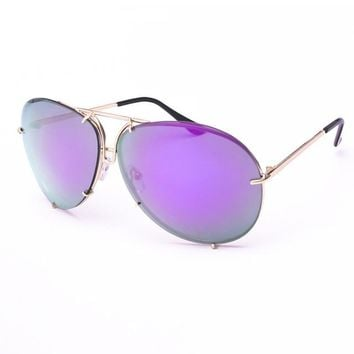 ROAYL GIRL High Quality Women Retro Sunglasses Classic Brand Designer Oval Sunglasses Coating Mirror Lens Shades ss154