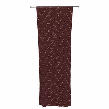 "Julia Grifol ""Brown Triangles"" Maroon Pattern Decorative Sheer Curtain"
