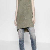 Olive Sleeveless Split Side Shirt