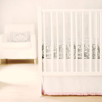 Sweet & Simple Seperates - White with Pink Ruffle Crib Skirt
