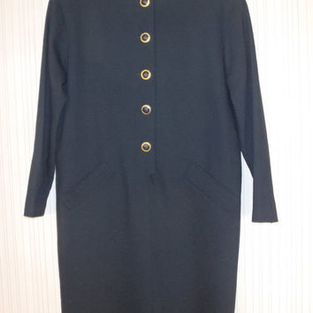 Evan Picone Black Dress in Light Weight Wool Long Sleeve 80s Designer Dress / Vintage Clothing by Feisty Farmers Wife