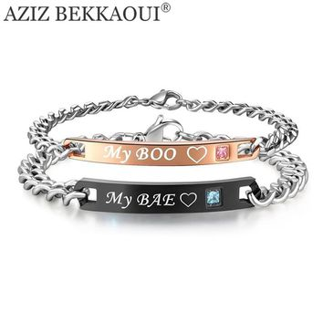 My Boo & My Bae Named Bracelets For Women Men Matching Couple Bracelets Crystal Stone Charm Bracelets Link Chain