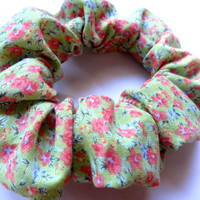 Green Floral Patterned Scrunchie, Hair Scrunchie, Cotton Scrunchie, Hair Accessory