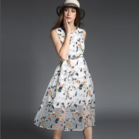 Printed Mesh Sleeveless Belted Shirtwaist A-Line Midi Dress