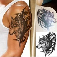 Hot! Water Transfer Fake Tattoo Waterproof Temporary Tattoo Sticker 12*19Cm Men Women Wolf Tattoo Flash Tattoo Fashion A4