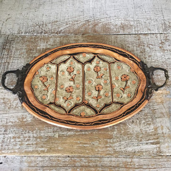 Copper Tray with Handles Etched Floral Design Small Copper and Brass Serving Tray Gulistan of Turkey Tray Dresser Top Tray Vanity Tray