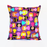 Purple Princess Pillow // Girl's Purple PIllow Cover // Princess Pillowcase // Children's Pillow // Envelope Pillow Cover