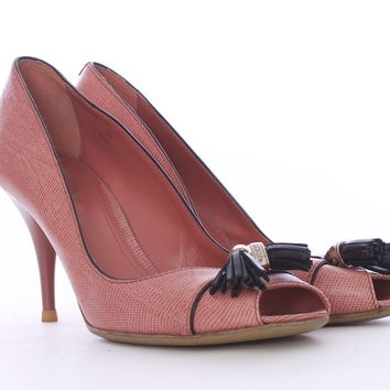 TOD'S Pink Pebbled Leather with Tassel Open Toe Heels Size 7US 38EUR