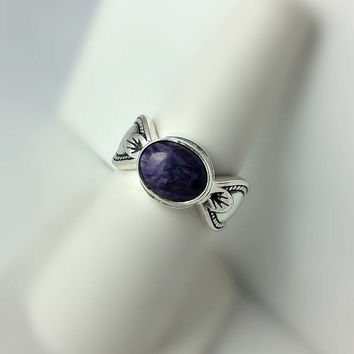 Purple Gemstone Ring Size 7 - Size 7 Sterling Silver Ring - Native American   Style Ring - Southwestern Ring