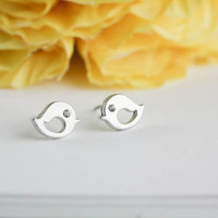 silver love bird earrings