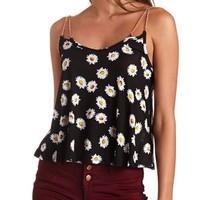 Chain Strap Daisy Print Swing Crop Top