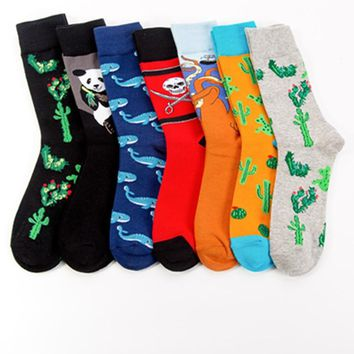 2018 new colorful crew men socks cactus big octopus pirate flag pattern combed cotton material novelty funny couple art socks